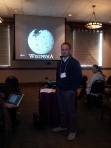 Picture of me giving a presentation on Wikipedia