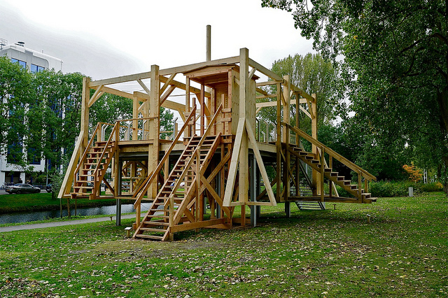Roel Wijnants' picture of a wooden playground with scaffolding
