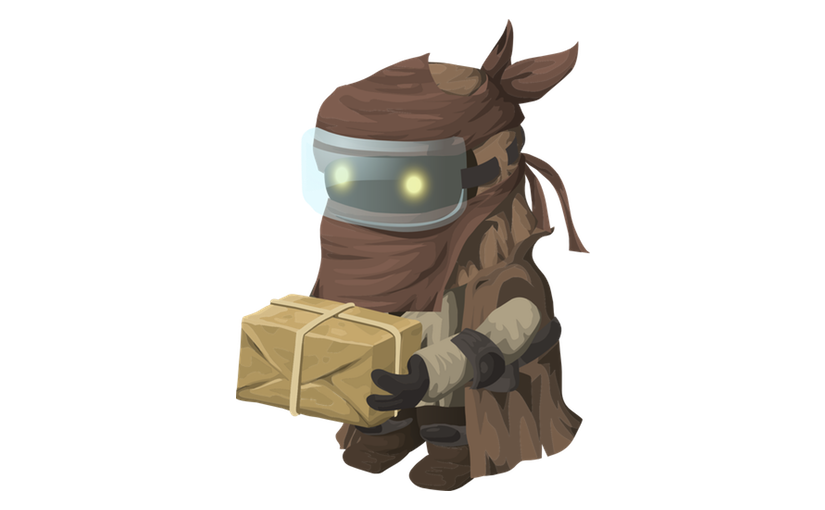 Our Goblin mascot is represented as a hooded figure wearing goggles and carrying a package