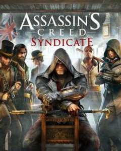 Game cover art for Assassin's Creed Syndicate. A hooded assassin sits in a chair while surrounded by nefarious looking game characters.