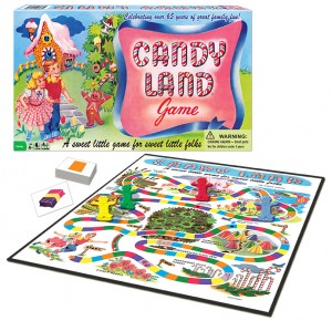 Box and board for the Candy Land game
