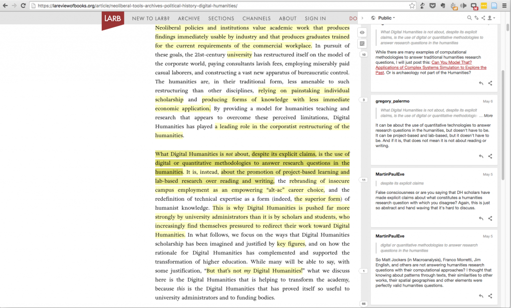 A screenshot of an article in LA Review of Books on Digital Humanities with the Hypothesis tool active