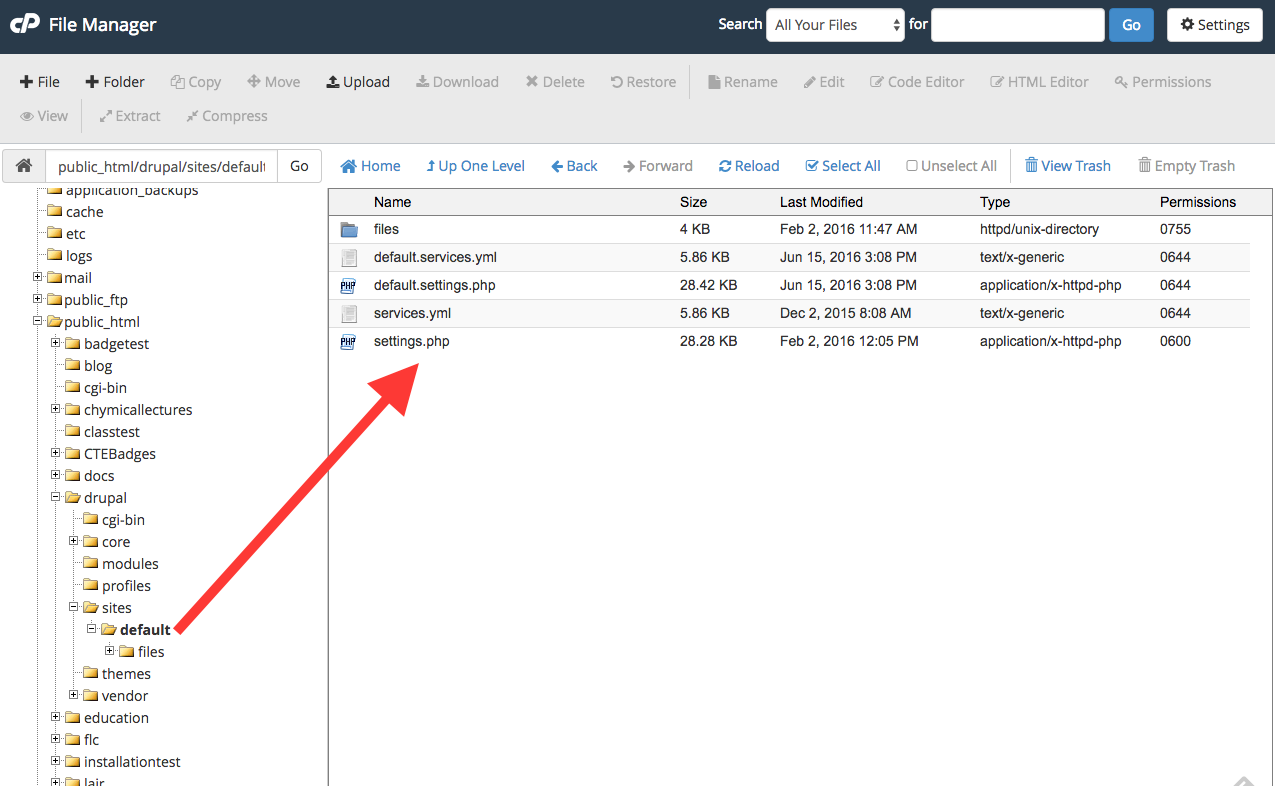 Screenshot of FileManager in Reclaim Hosting's cPanel