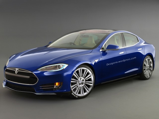 Image of a Blue Tesla S3