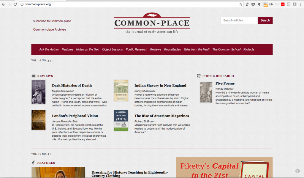 Screen shot of Common-Place.org