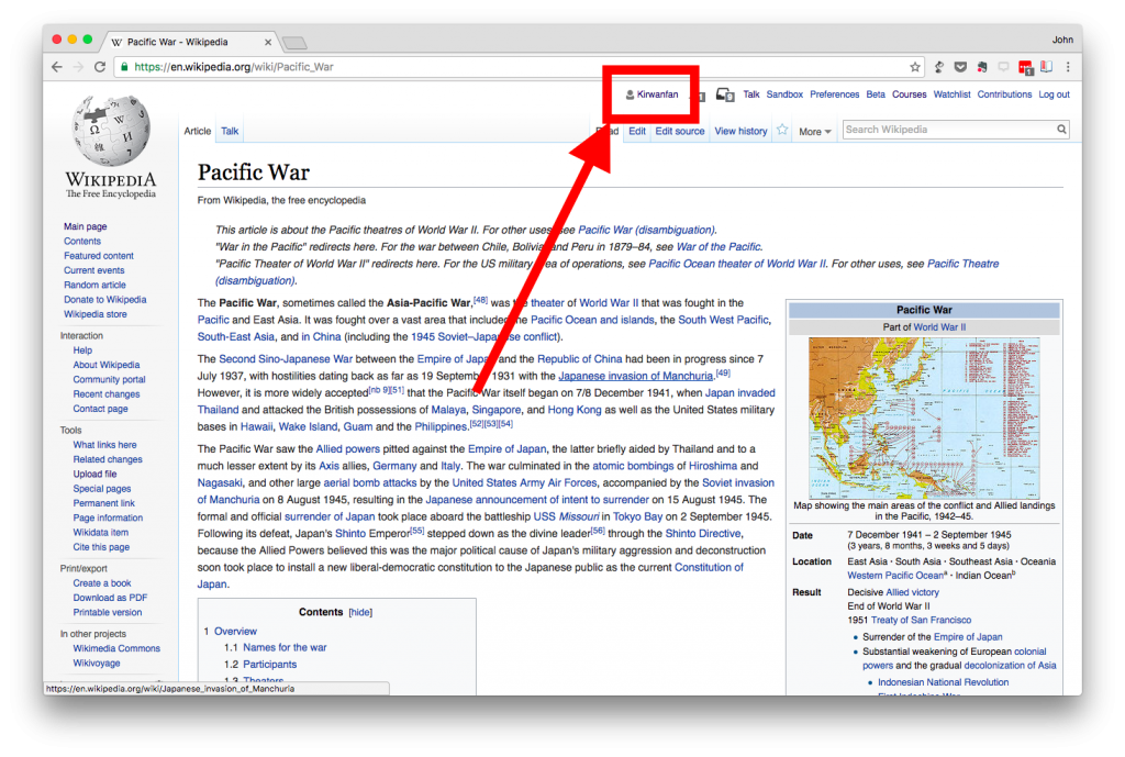 screen shot of the wikipedia page for an article with the user name highlighted