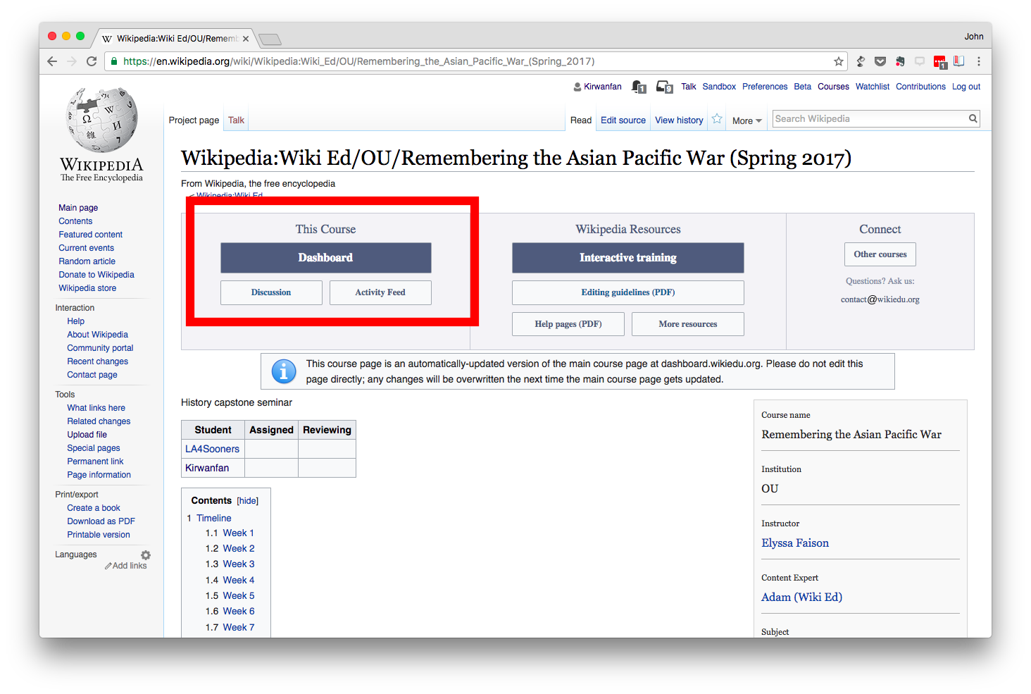 How-to sign up for Wiki Edu Courses – John Stewart