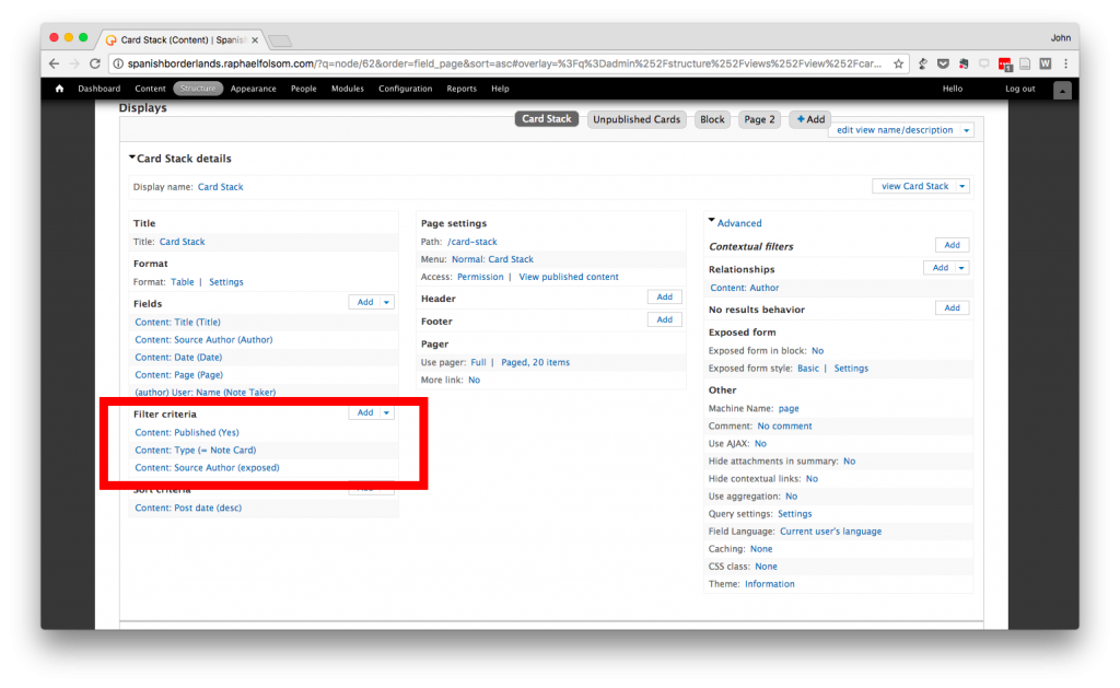 Screen shot of a Drupal View highlighting the filter section.