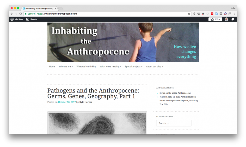 Screen Shot of Inhabiting the Anthropocene