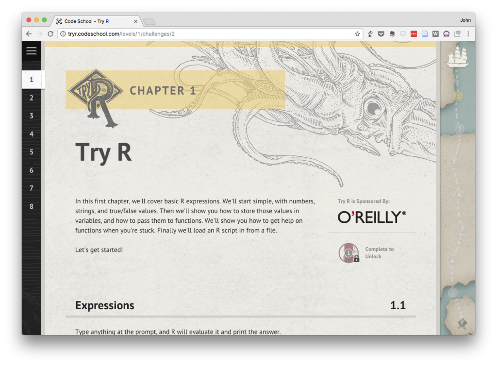 Screen Shot of the Try R platform from Chapter 1