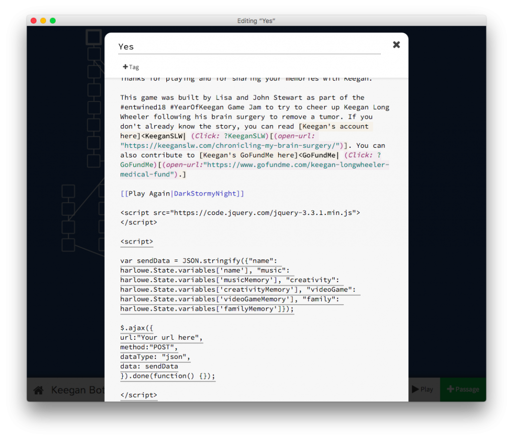 Screen shot of a Twine game passage showing the code explained in the surrounding post text.