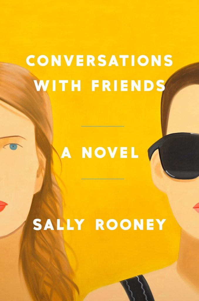 Book cover for Conversations with Friends by Sally Rooney. In the cover art, there are simplified drawings of two women.